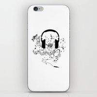 music notes iPhone & iPod Skins featuring Headphones and Music Notes by JuyoDesign