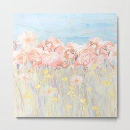Flamingo Daisy Meadow Metal Print