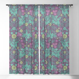 Purple, Teal, Magenta, Green & Yellow Floral Pattern Sheer Curtain