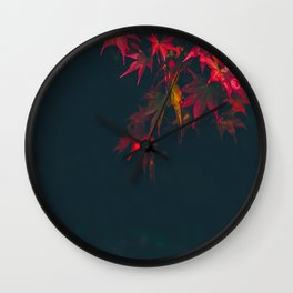 Sensual Red Japanese Maple Wall Clock