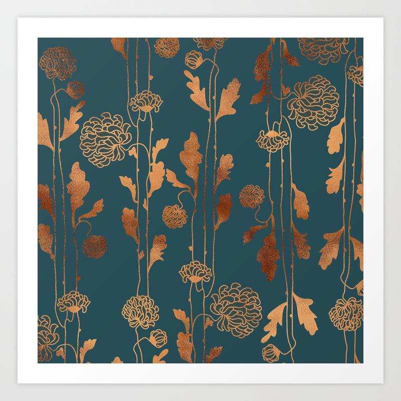 Art Deco Copper Flowers Art Print By Betterhome Society6