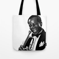 louis armstrong Tote Bags featuring Louis by Simone Bellenoit : Art & Illustration