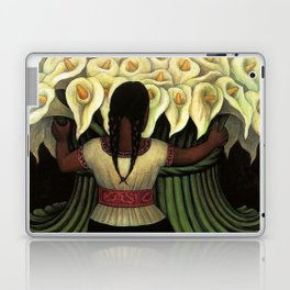 1941 Classical Masterpiece Calla lily 'Flower Seller' by Diego Rivera Laptop & iPad Skin