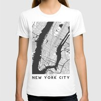 new york map T-shirts featuring New York City map by Studio Tesouro