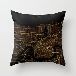 Black and gold New Orleans map Throw Pillow