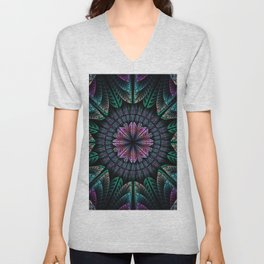 Magical dream flower, fractal abstract Unisex V-Neck