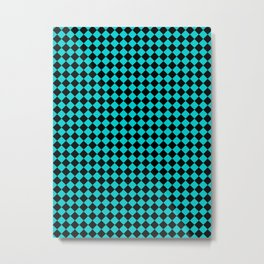 Black and Cyan Diamonds Metal Print