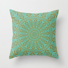 Turquoise and Gold Throw Pillow