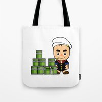 popeye Tote Bags featuring Popeye  by Jefferson Ng