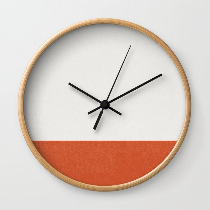 Burnt Orange Color Block Wall Clock