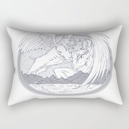 American Bully Fighting Demon Drawing Rectangular Pillow