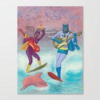 surfing Canvas Prints featuring surfing by Robert Deutsch