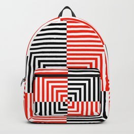 Optical illusion with red and black stripes Backpack