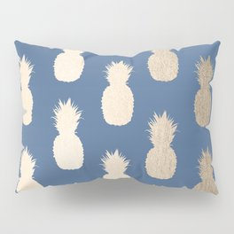 Gold Pineapples on Aegean Blue Pillow Sham