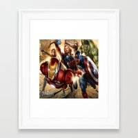 avenger Framed Art Prints featuring The Avenger by Tania Joy