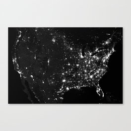 The Lights of the USA (Black and White) Canvas Print