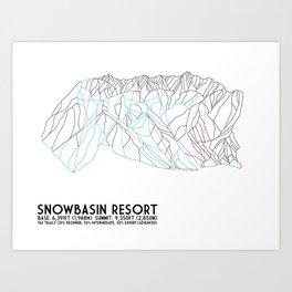 Snowbasin, UT - Minimalist Trail Art Art Print