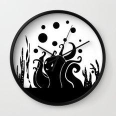 Happy Octopus B/W Wall Clock