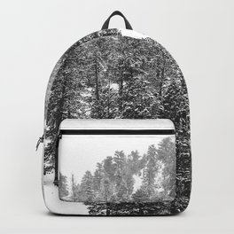 Mountain Snowfall // Snowy Peak Winter Landscape Photography Black and White Art Print Backpack