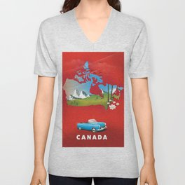 Canada illustrated travel poster. Unisex V-Neck