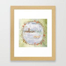 Christmas vintage fox Framed Art Print