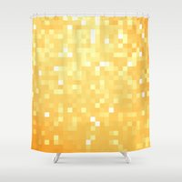 pixel art Shower Curtains featuring Golden pixeLs by 2sweet4words Designs