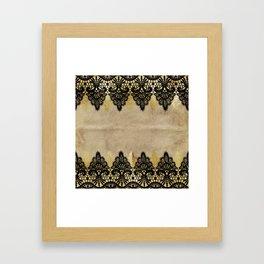 Elegance- Ornament black and gold lace on grunge paper backround Framed Art Print