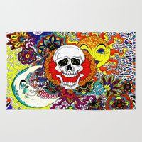 sun and moon Area & Throw Rugs featuring Sun, Moon, and Skull. by Allyson Travis