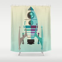 rocket Shower Curtains featuring Rocket X by Danny Haas