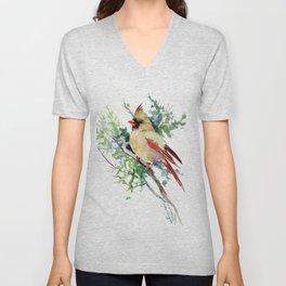 Cardinal Bird Artwork, female cardinal bird Unisex V-Neck