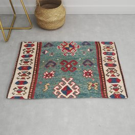 Chevron Stars // 19th Century Colorful Steel Blue Light Green Teal Checkered Ornate Accent Pattern Rug