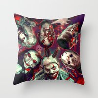 Twisty Jigsaw Jason Voorhees Terminator Psychedelic Spook Show Throw Pillow