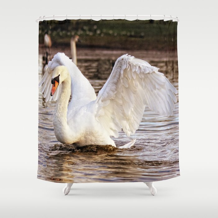 Elegant Swan Shower Curtain By Inspiredimages