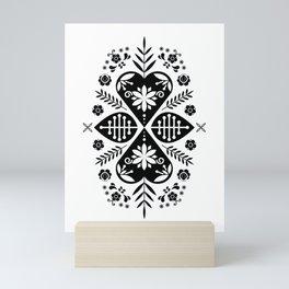 Monochrome Scandi Folk Pattern Art Mini Art Print