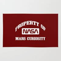 nasa Area & Throw Rugs featuring Property of NASA Mars Curiosity Rover Athletic Wear White ink by RockatemanDesigns