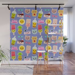 Hello Summer Pineapple, cherry smoothie cup, ice cream, sun, cat, cake, hamster. Kawaii cute face. Wall Mural