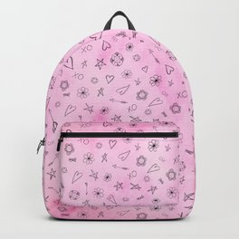 Pink girly watercolor pattern Hearts and Stars Backpack