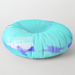 Neon Winter Rose, Abstract In Nature, Ice Blue Floor Pillow