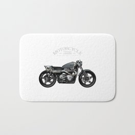 Vintage Street Tracker Motorcycle Poster Bath Mat