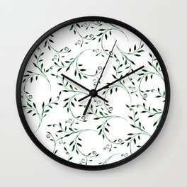 Hand painted green watercolor floral leaves Wall Clock