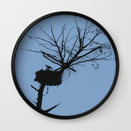 Silhouette Of Stalk Nest and Fledglings Vector Wall Clock