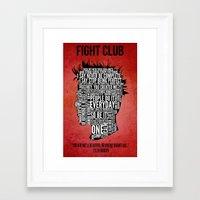 tyler durden Framed Art Prints featuring Typography Tyler Durden Uncensored by Adam Grey