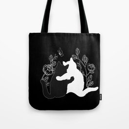 Black and white cats,floral decor Tote Bag