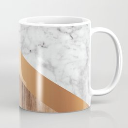 Stone Arrow Pattern - White Marble, Rose Gold & Wood #924 Coffee Mug