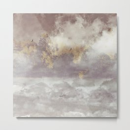 Flying Birds in Forest Landscape with Big Clouds  Metal Print