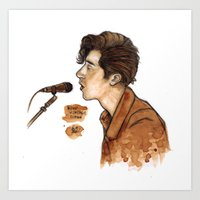 alex turner Art Prints featuring Alex Turner  by The vintage icon