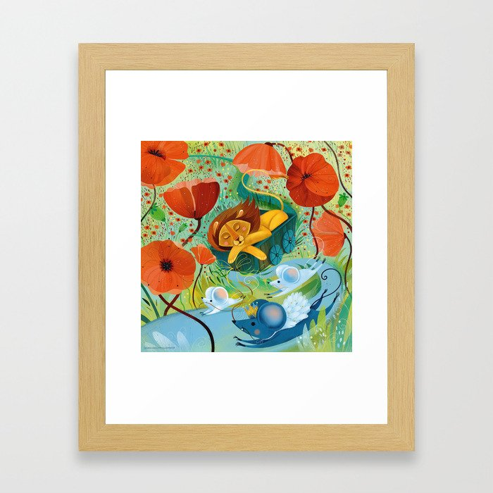 sleeping lion Framed Art Print
