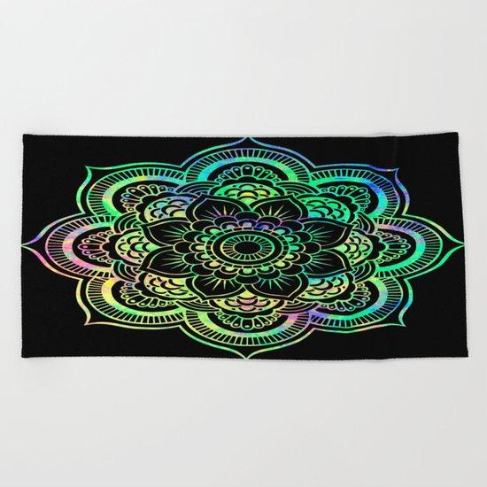 Black Light Mandala Beach Towel