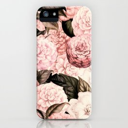 Vintage & Shabby Chic Pink Floral camellia flowers watercolor pattern iPhone Case
