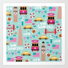San Francisco travel - Retro style illustration pattern Art Print
